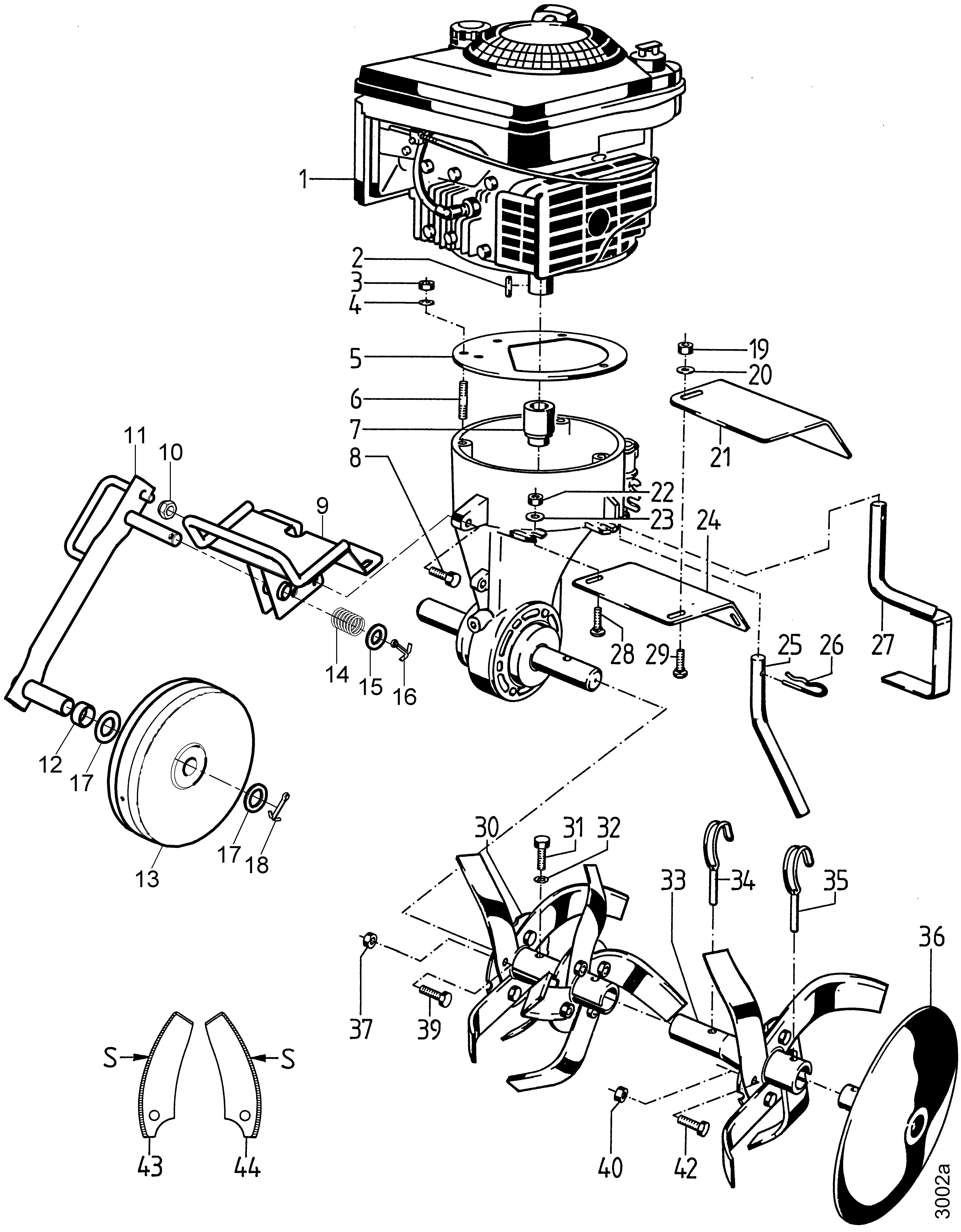Moteur, plaque de protection, outils binage, roue d'avant